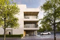 Vítězný návrh nového bytového domu v Humpolci.