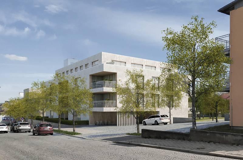 Vítězný návrh budoucího bytového domu v Humpolci.