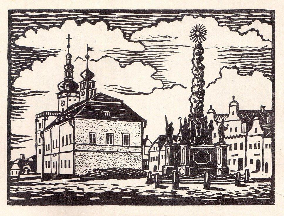 Severní strana polenského náměstí v době pobytu B. Němcové.