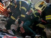 Ukázky záchranných prací v Želivě.