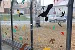 Polepení zastávek siluetami ptáků. Zastávka v ulici Architekta Janáka