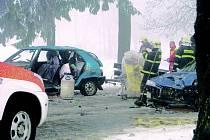 Páteční střet dvou aut za Humpolcem ve směru na Želiv