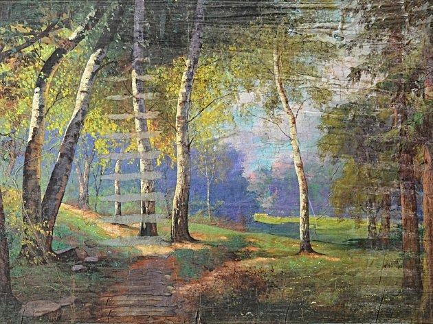 Jedno z vystavených pláten, která byla objevena na půdě kina.