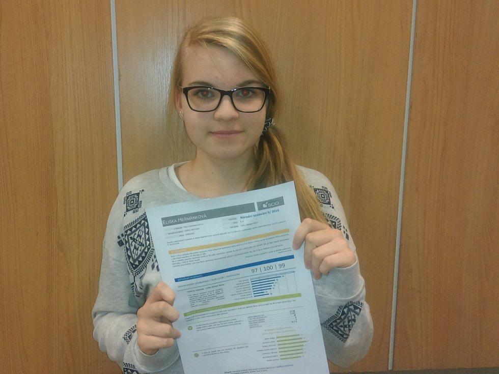 Eliška Heřmánková, která chodí na Základní škole Komenského Pelhřimov do 9. A, má důkaz, že patří mezi top žáky v České republice.