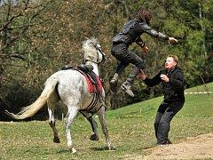 Během natáčení reportáže na Farmě Rybníček, kde se cvičí koně a kaskadéři pro film, nebyla nouze ani o pády a spoustu akčních chvil.