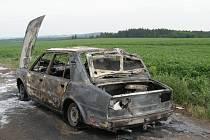 Sobotní požár osobního automobilu  na komunikaci za obcí Budkov na Třebíčsku.