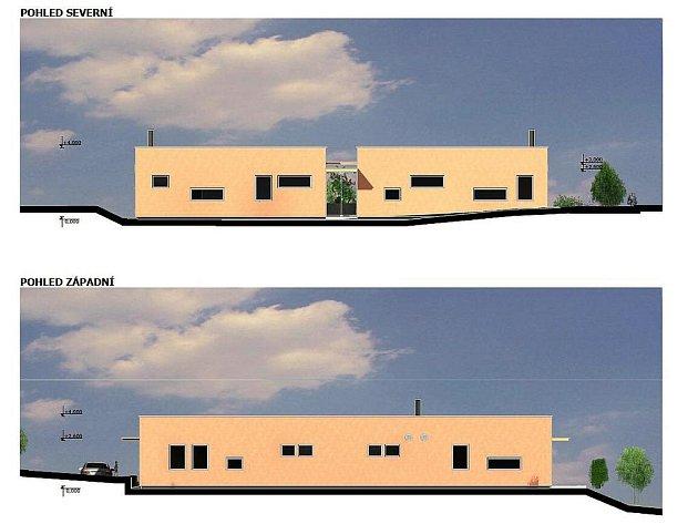Severní a západní pohled na objekt Centra sociálních služeb Písek.