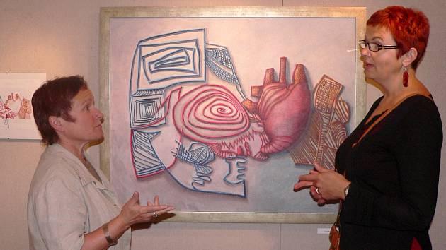 Iva Petrová a Irena Mašíková  na vernisáži výstavy v Prácheňském muzeu  před dvěma lety.
