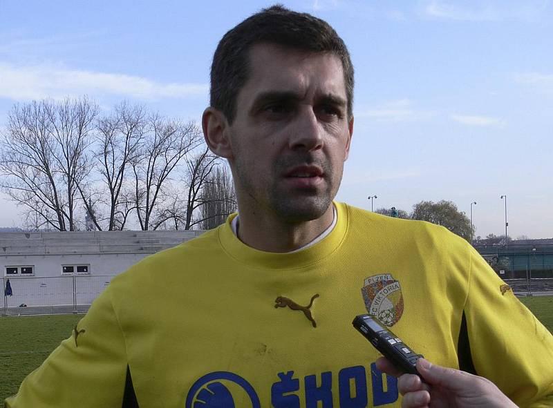 Brankář hostí Tomáš Poštulka hodnotí právě skončený zápas třetí fotbalové ligy Písek - Plzeň B.