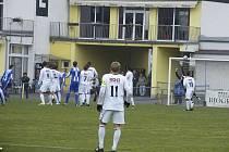 Již ve 4. minutě třetiligového zápasu Písek - Domažlice zahrávali hosté trestný kop a nastřelili břevno Satrapovy branky (na snímku). Utkání skončilo nerozhodně 1:1.