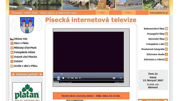 Úvodní obrazovka nové písecké internetové televize