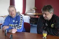 Utkání České fotbalové ligy Písek - Liberec B (2:0) hodnotili na tiskovce trenéři obou týmů: hostující Jaroslav Vodička (vlevo) a domácí Karel Musil.