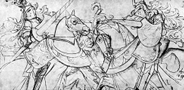 Turnaj rytířů na koníchv programu slavnosti Dotkni se Písku byl isnpitován obrazem Mikoláše Alš.