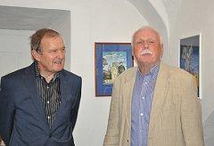Petr Brukner (vpravo) a písecký sochař Jan Novotný.