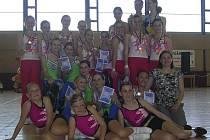 Na snímku jsou milevské týmy z domácí soutěže v pódiových skladbách aerobiku PROACTIVE Cup 2009.