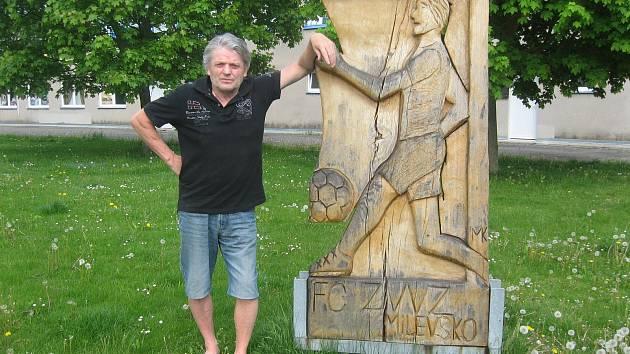 Lubomír Rejda v bývalém domácím prostředí na fotbalovém stadiónu v Milevsku.