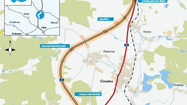 Plánovaná trasa silnice R4.