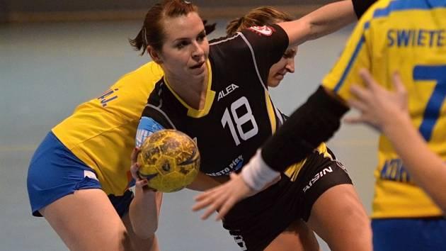 Dnes již bývalá hráčka Písku Iveta Luzumová (na snímku v tmavém dresu) by měla na mistrovství Evropy v házené žen v Srbsku patřit k oporám české reprezentace.