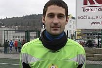 Vladan Vršecký (na snímku), brankář třetiligových fotbalistů FC Písek, udržel v prvních dvou jarních zápasech čisté konto a měl velký podíl na tom, že mužstvo vždy vyhrálo a získalo celkem šest bodů.