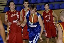 Basketbalisté Písku (archivní snímek ze zápasu se Strakonicemi) využili domácí palubovky ke dvěma výhrám v úvodních zápasech nového ročníku druhé ligy s Teplicemi a Kralupy nad Vltavou.
