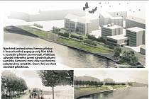 Návrh řešící nábřeží řeky Otavy.