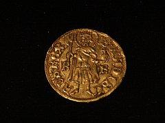 Výstava zlatých mincí v Prácheňském muzeu - uherský dukát Zikmunda Lucemburského ražený v roce 1431, 1434 nebo 1437 v mincovně v Kremnici.