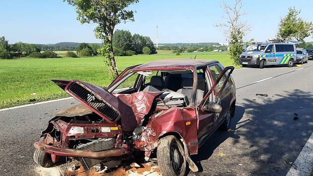 Z místa nehody u Milevska.