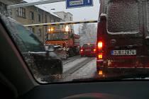 Sněžení, cesta z Protivína do Písku, pondělí 29. 11. 2010