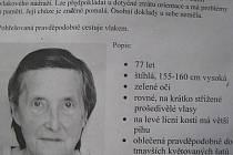 PROSBA O POMOC. Leták s fotografií a popisem hledané Vilemíny Zelenkové je nalepený například na autobusové zastávce u školy v Záhoří.