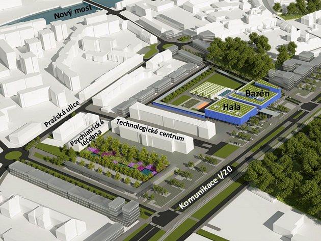 Studie využití areálu bývalých Žižkových kasáren zde navrhuje bazén a sportovní halu.