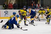 Písečtí druholigoví hokejisté v utkání proti pražské Kobře, na kterou zahrát umějí.