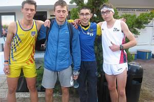 Zleva: vítězný junior Bouška, chyšecký Kohout, vítěz hlavního závodu písecký Roman Budil a vítěz dorosteneckého závodu Jakub Budil.