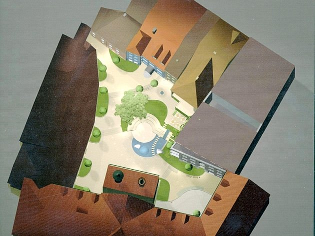 Celkový pohled na nádvoří sladovny podle návrhu architekta Vladimíra Boučka.
