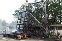 Požár pily v Nové Vráži.