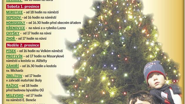 Rozsvícení vánočních stromků na Písecku.