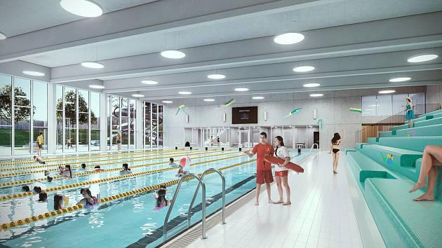 Vizualizace nového bazénu pod lesnickou školou v Písku.