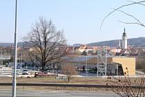 Stavba obchodní galerie v Písku.