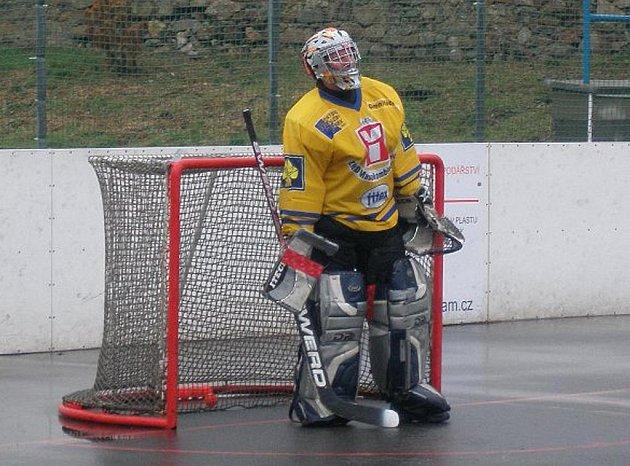 Na snímku je Tomáš Gareis, brankář týmu Staré gardy HC ŠD Písek.