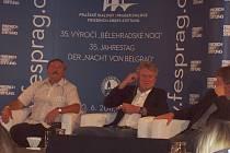 Antonín Panenka (vlevo) i Sepp Maier i po dlouhých pětatřiceti letech odpovídají na dotazy, týkající se slavného bělehradského finále na mistrovství Evropy 1976.