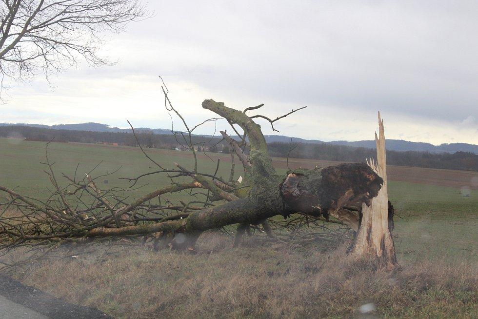 Následky silného větru na Písecku.