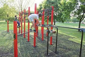 Workoutové hřiště v Milevsku, vedle kterého má vzniknout fitpark pro starší lidi.