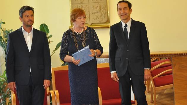 Setkání rodáků a významných osobnosti na radnici v Písku.