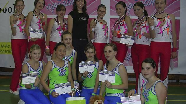 Na snímku ze závodu Wellness týmů v Brně jsou týmy Proactive aerobic klubu Milevsko.