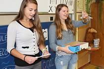 Srdíčkové dny ve škole v Mirovicích. Na snímku jsou žákyně  9. třídy Klára Hanzlíková a Alena Bierhanslová.