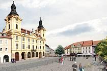 Vizualizace píseckého Velkého náměstí po rekonstrukci.