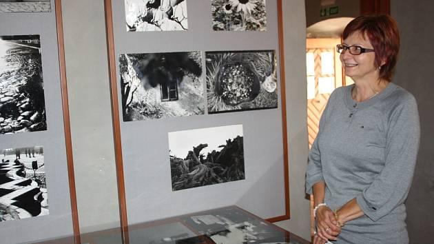 Na snímku je s několika fotografiemi Jana Hampla pracovnice infocentra Marie Laňová.