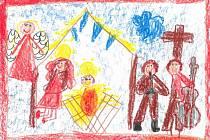 Koledy letos děti nemohly zpívat, ale proměnily je v malebné kresbičky.