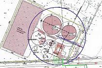 Plán bioplynové stanice, která bude v Kestřanech.