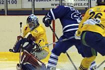 Brankář Filip Svoboda výrazně podržel mužstvo Milevska v zápase druhé hokejové ligy v Mělníku.