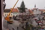 Instalace vánočního stromu v Písku.